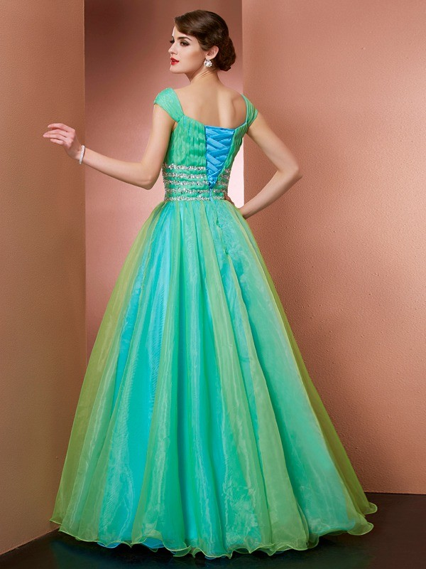 Palloncino Off the Shoulder Senza maniche Perline Lunghi Raso Vestito da Quinceanera