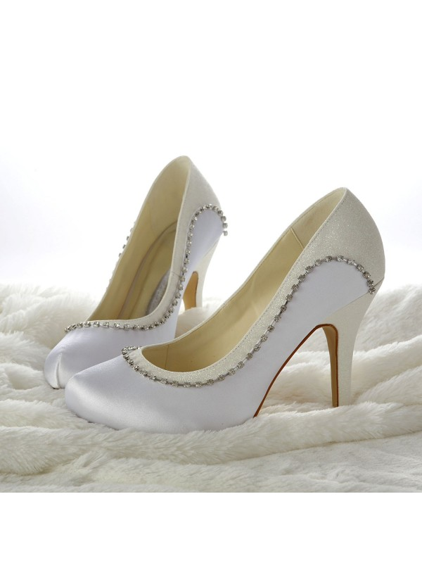Donna Stiletto Taccos Closed-toe Perline bianca Scarpe da sposa